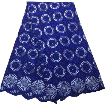 10 colors (5yards/pc)  royal blue African Swiss voile lace fabric with beautiful embroidery new design for making dress CLS250