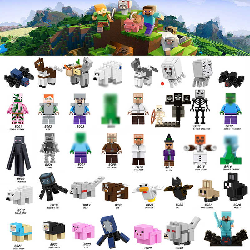 For minecraftes Animal Figures IronGolem Enderman Cave Spider Ghast Zombie Pigman Model Building Blocks Toys Bricks