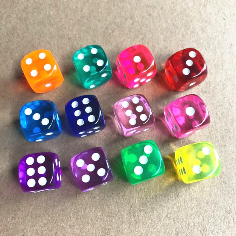 10pcs/lot 6 Sided Portable Drinking Dice 16MM Acrylic Round Corner Board Game Dice Party Gambling Game Cubes Digital Dices