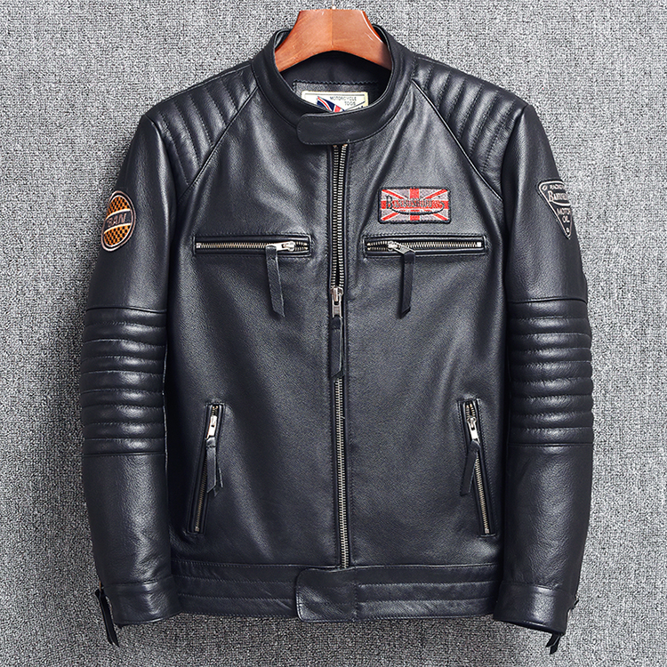 Free Shipping.wholesales Mens Genuine Leather Jacket,motor Biker Jacket For Man.black Slim Cowhide Coat.Brand Plus Size