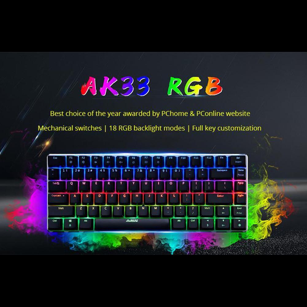 Ajazz AK33 механическая клавиатура с защитой от привидения игровая клавиатура синий переключатель 82 клавиши Проводная клавиатура для ПК ноутбу...