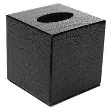 Прочная квадратная коробка для салфеток из искусственной кожи, чехол для салфеток, чехол для салфеток, цвет: черный, крокодиловый узор, размер: 13,8*13,8*1