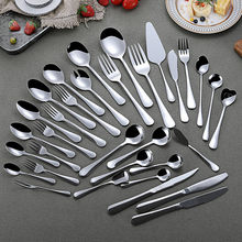 Western Cutlery Set Stainless Steel Tableware Spoon Fork Knife Dinnerware Set Kitchen Dinner Set Tableware Luxury Home Flatware