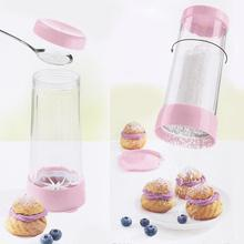 Icing Sugar Mill Powder Sugar Shaker Dispenser, Cocoa Flour Coffee Sugar Shaker with Lid Dredge Jars, 12oz, Sugar Flour Sifter