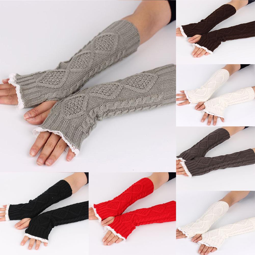 Woman Lace Brim Rhombus Pattern Woolen Yarn Long Warm Knitting Half Finger Gloves For Fall Winter