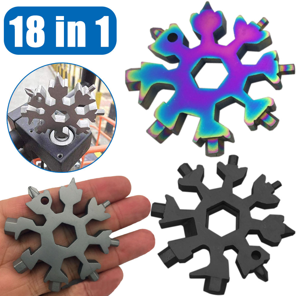 18 In 1 Snowflake Multi Pocket Tool Keyring Multi Tool Hex Wrench Screwdriver Spanner Multifunction Outdoor Camp Survive Hike