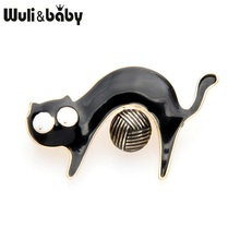 Wuli&baby Black Brown Cat Playing Yarn Ball Brooches Women Alloy Cute Animal Party Brooch Pins New Years Gifts