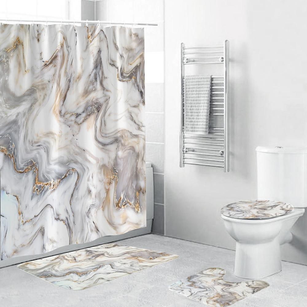 Marble Shower Curtain Sets With Non-slip Bathroom Rug,Toilet Lid Cover,Bath Mat,Durable Waterproof Bath Curtain For Bathtub