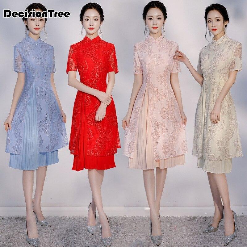 2020 Arrival Aodai Vietnam Qipao Dress For Women Traditional Oriental Clothing Ao Dai Dresses Short Lace Dress For Women