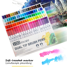100 Colors Fineliner Art Marker Pens Drawing Painting Watercolor Dual Tip Brush Pen School Stationery Supplies 1pcs colored art markers dual brush marker pen drawing pen manga marker design pens art painting pens school stationery 96 color