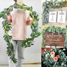 Green Eucalyptus Leaves Garland Wisteria Artificial Flowers Rattan Fake Plant Silk Leaf Vines For Wedding Birthday Party Decor