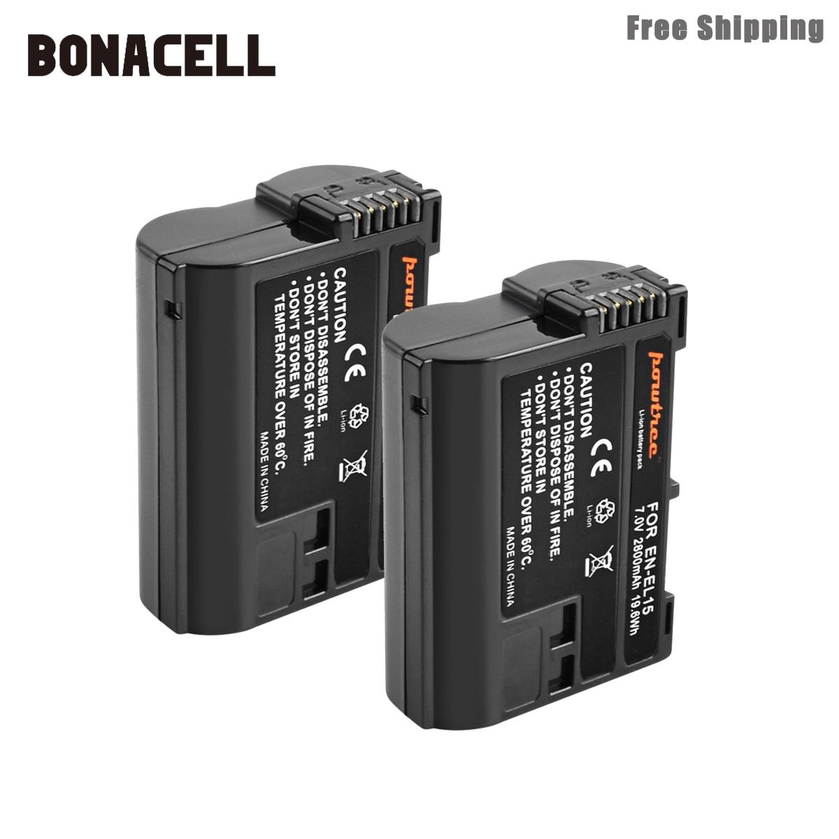 Bonacell 2800mAh EN-EL15 ENEL15 EN EL15 Batterie Pour Appareil Photo REFLEX NUMÉRIQUE Nikon D600 D610 D800 D800E D810 D7000 D7100 D7200 L15