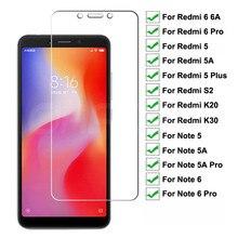9H Premium Tempered Glass For Xiaomi Redmi 6 Por 5 Plus 6A 5A S2 K20 K30 Screen Protector Redmi Note 6 5 5A Pro Protective Glass