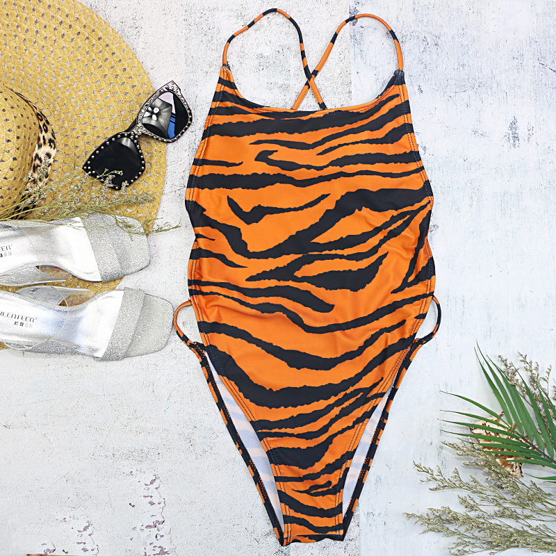 2020 girls one piece swimsuit women swimwear tiger stripe backless wire free high waist cross black thong sexy on sale swimming