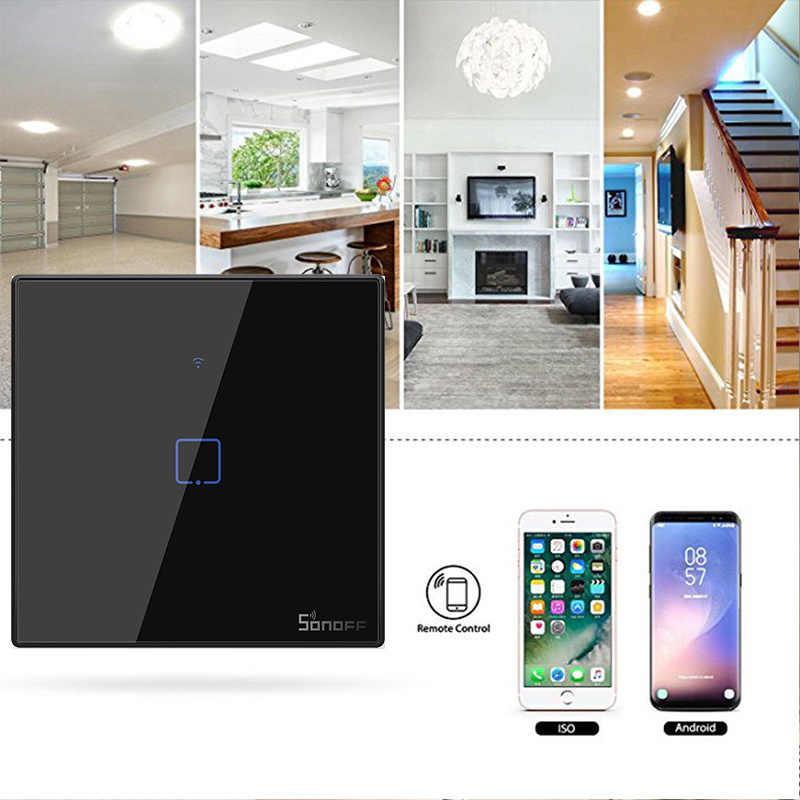 SONOFF T3 TX WiFi inteligentne przełączniki Panel z 1/2/3 gangi dla Alexa Amazon strona główna Google inteligentne domu Sonoff inteligentny dom ue/UK/US