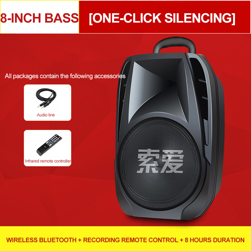 Big Speaker Outdoor Bluetooth Wireless Portable Remote Garden Picnic Party Microphone Clock LED Display FM Radio Subwoofer - 2