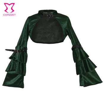 Green Flannel& Leather Buckled Ruffle Flare Sleeve Short Steampunk Vintage Jacket Women Gothic Coat Victorian Corset Accessories