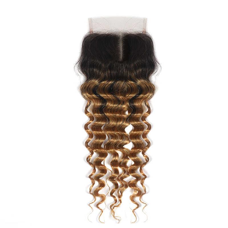 Brasil Gelombang Dalam Rambut Bundel dengan Penutupan Soku Ombre Rambut Pirang Rambut Manusia Bundel dengan Penutupan Tidak Remy Rambut Menenun bundel