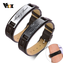 Vnox Free Personalize Bracelets for Men 16mm Adjustable Leather Band with Glossy Stainless Steel ID Bar Unique Customize Gift