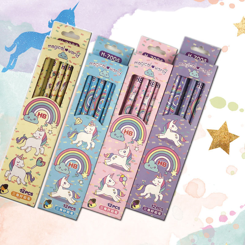 12Pcs/Set Kawaii HB Wooden Lead Pencils Cute Unicorn Pencils For Kids Gifts School Office Drawing Supplies Novelty Stationery