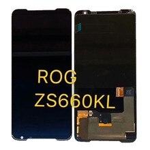 "6.59 ""ASUS ROG telefon 2 telefon Ⅱ ZS660KL Amoled LCD ekran + dokunmatik ekran Digitizer meclisi ASUS ROG Phone2 LCD ekran"
