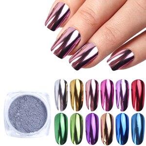 Image 1 - 13pcs Mirror Nail Glitter Set Chrome Powder Pigment Rub For Nails Rose Gold Sequins Dust Nail Art Decorations Manicure TRC/ASX 1