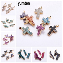 Yumten Crystal Cross Charm Lucky Gem Pendant Fashion Star Necklace Semi-precious Stone Accessories Natural Heal Jewelry Women