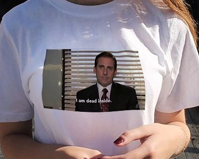 New Funny T-Shirt Unisex Tumblr Grunge White Tee The Office Michael Scott I Am Dead Inside Quotes image