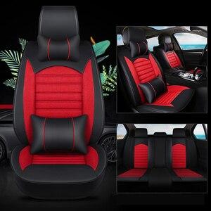 Image 2 - Kalaisike couro plus linho universal tampas de assento carro para mitsubishi todos os modelos pajero dazzle asx lancer pajero esporte outlander
