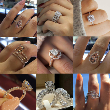 Charm Big Cubic Zirconia CZ Wedding Rings For Woman Elegant Bridal Engagement Party Finger Ring Jewelry gulicx zircons elegant drop aaa cubic zirconia long big crystal bridal earring for wedding jewelry