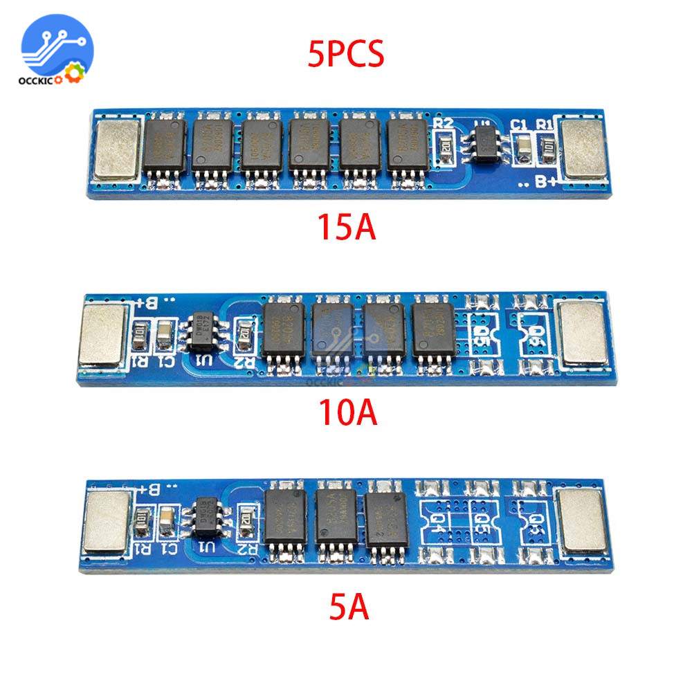 5 Pcs/lot BMS 1S 5A 10A 15A 3.7V 3MOS 4MOS 6MOS 18650 Lithium Battery Charge Protection Board 16850 Battery Charging PCM