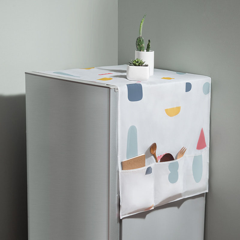 Refrigerator cover refrigerator cover cloth dust cover cover towel household freezer top hanging bag refrigerator cover storage image