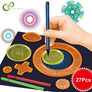 22pcs Spirograph Drawing Toy Set Interlocking Gears Wheels Painting Drawing Accessories Creative Educational Toy Spirographs GYH