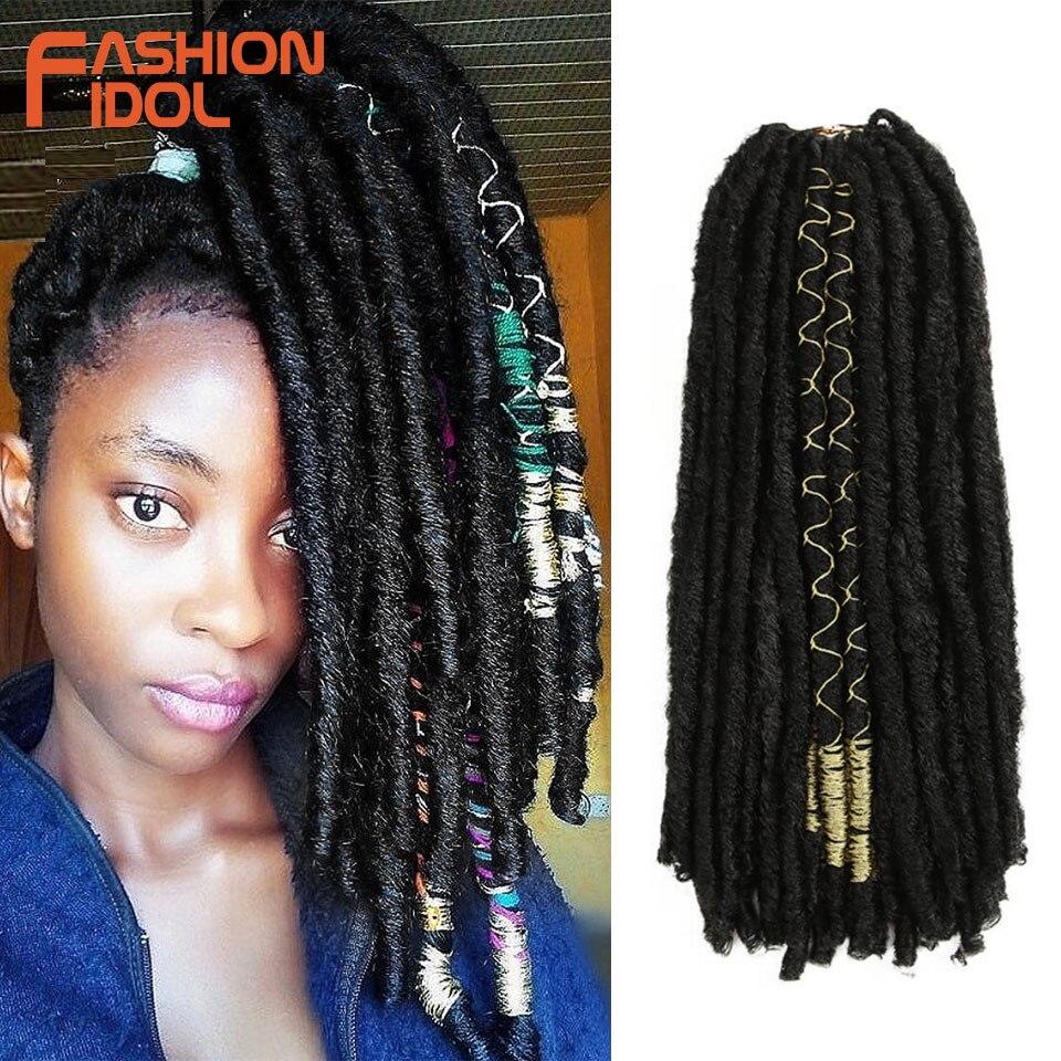 FASHION IDOL Faux Locs Hair Crochet Braids 20 Inch Soft Natural Kanekalon Synthetic Hair Extensions 10 Stands/Pack Goddess Hair