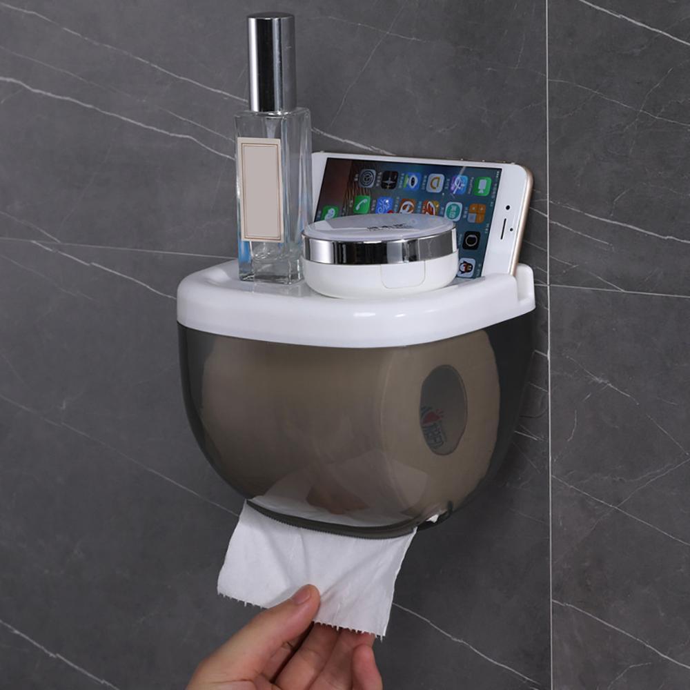 ผู้ถือกระดาษห้องน้ำกันน้ำโทรศัพท์มือถือชั้นวางของติดผนังชั้นวางกล่องเก็บอุปกรณ์เสริม