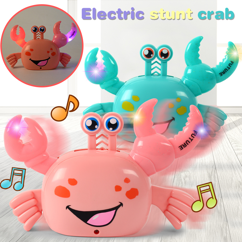 Novelty Electric Crab Toys Automatic Turning Luminous Crab With Music Baby Eletric Animal Educational Toys For Children Gifts