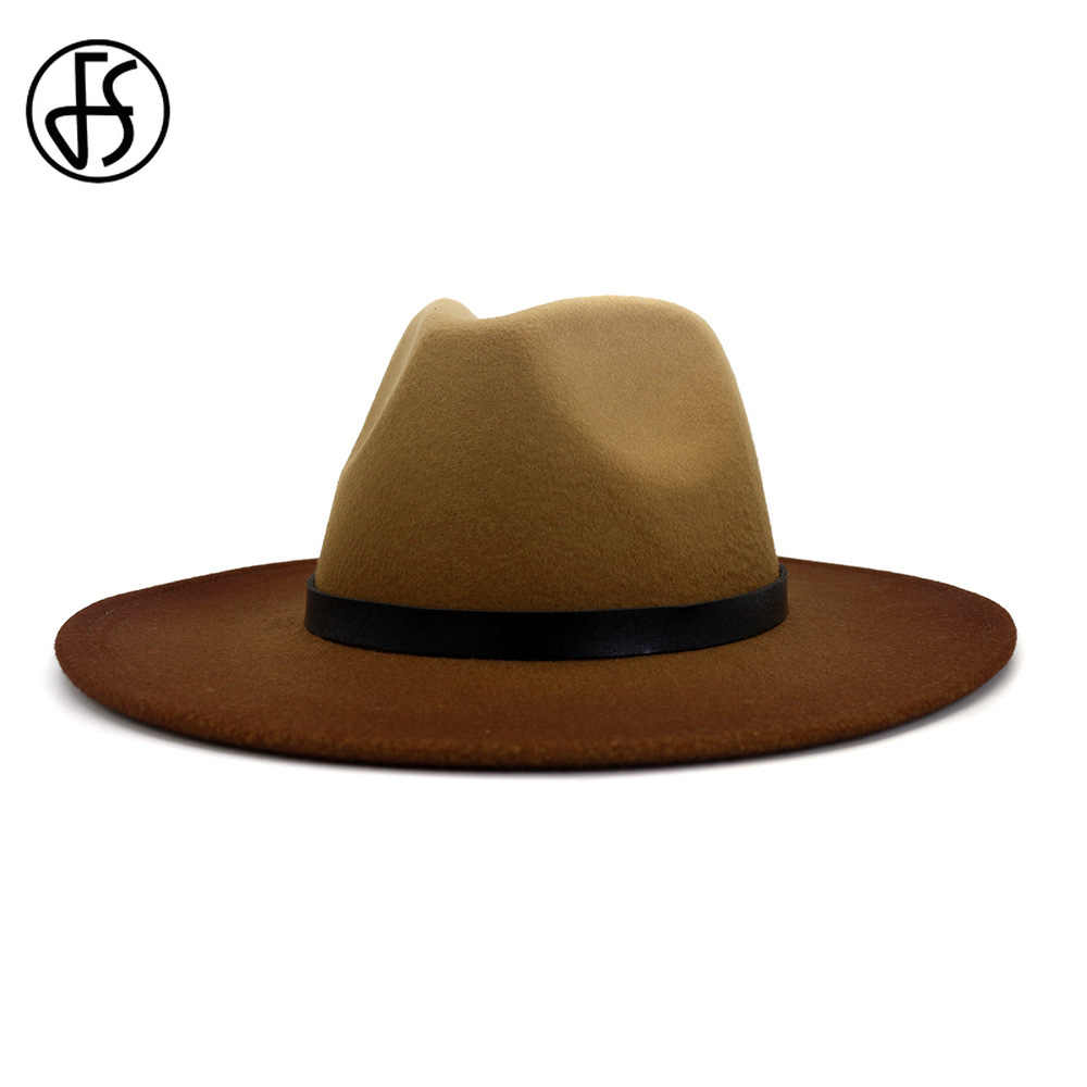 High quality brown wide brim 100/% wool felt fedora trilby hat X Large