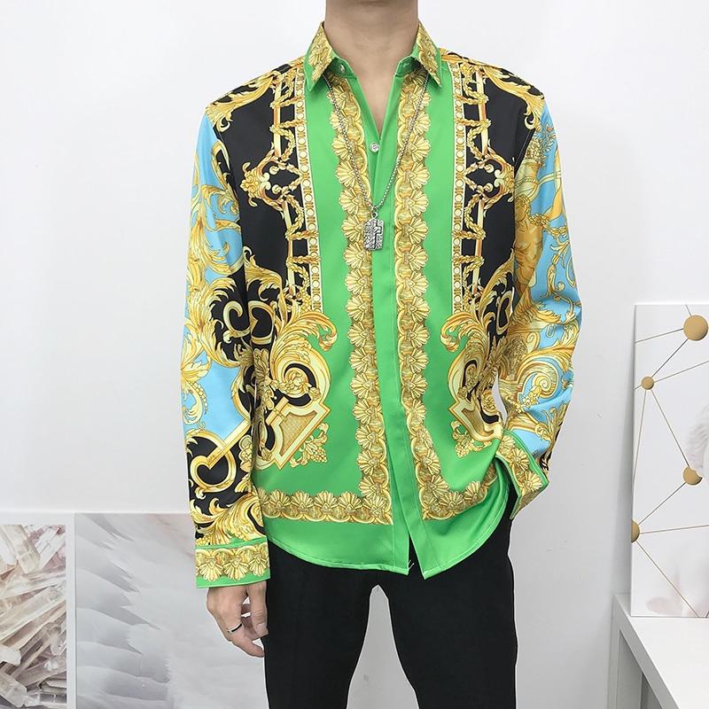 Seestern Brand New Luxury 3D Printing Gold Paisley Men Shirt Men's Fashion Dress Shirts Slim Fit Casual Male Long Sleeve Women