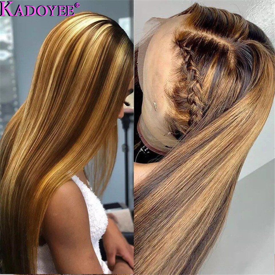 Image 3 - Straight Lace Front Human Hair Wigs Pre Plucked Ombre Honey Blond Highlights Wig Malaysia Remy 13x4 Lace Front Wigs for WomenHuman Hair Lace Wigs   -