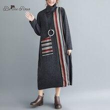 BelineRosa Retro Style Knitting Long Dresses Womens Striped Turtleneck Collar Winter Dress YPYC0021