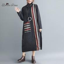 Belinerosa 레트로 스타일 뜨개질 긴 드레스 여성 스트라이프 터틀넥 칼라 겨울 드레스 ypyc0021