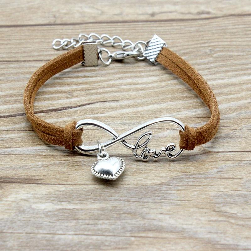 Black Red Heart Leather Bracelet Wristband Bangle Ladies Girls Womens Jewellery