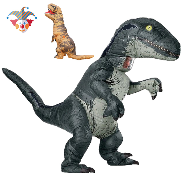 Disfraz de dinosaurio T REX Velociraptor para adultos y niños, Cosplay de Anime de fantasía, Raptor de dinosaurio inflable, Disfraces de Halloween para mujeres