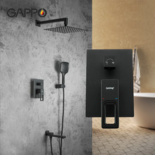 GAPPO black faucet shower bathroom Concealed Mounted Mixer hot and cold water mixer Brass faucet Bathtub rainfall shower system