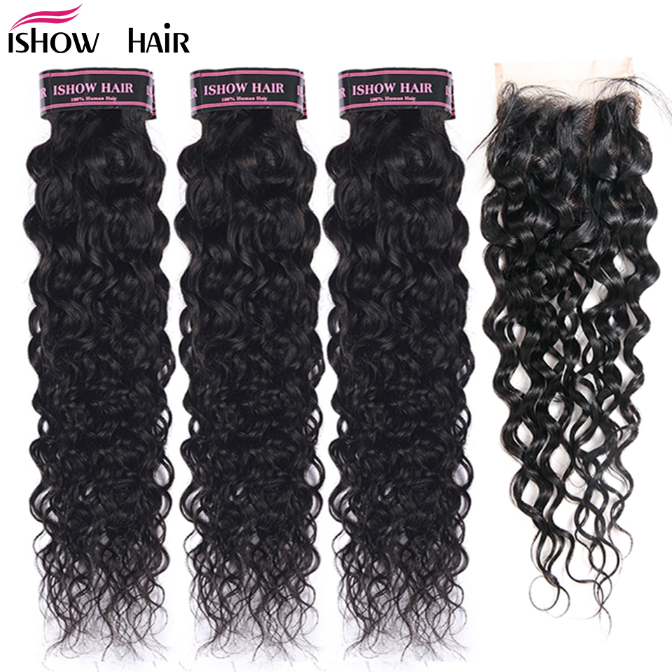 Ishow Peruvian Human Hair 3 Bundles Water Wave With Closure Free Middle Part Non Remy Hair Extension Natural Color Hair Bundles