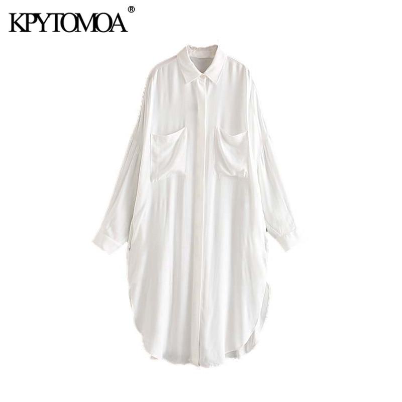 Vintage Stylish Pockets Oversized Blouses Women 2020 Fashion Lapel Collar Long Sleeve Side Split Female Shirts Blusas Chic Tops