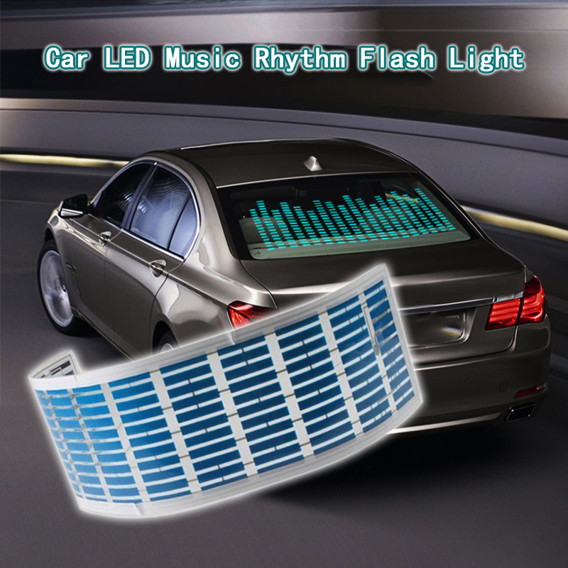 Car Light LED Music Rhythm Flash Light Sound Activated Sensor Equalizer Rear Windshield Sticker Neon Lamp For Car Accessories