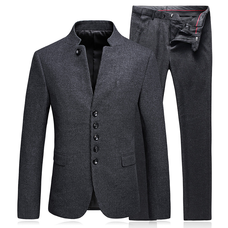 (Blazer+pants) Men's Business Autumn And Winter Casual Stand Collar Woo Suit Suit Tunic Two-piece Dark Gray Slim Suit Set