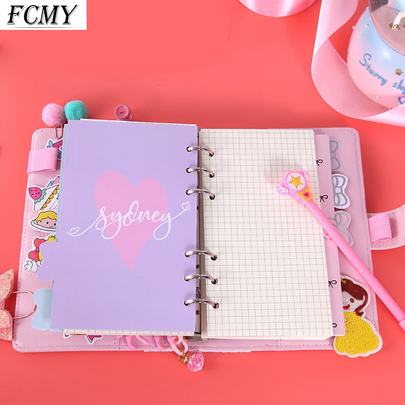 Macaron Color A5 A6 6 Ring Binder PU Clip-on Notebook Leather Loose Leaf Notebook Cover Notebooks Journal Kawaii Stationery
