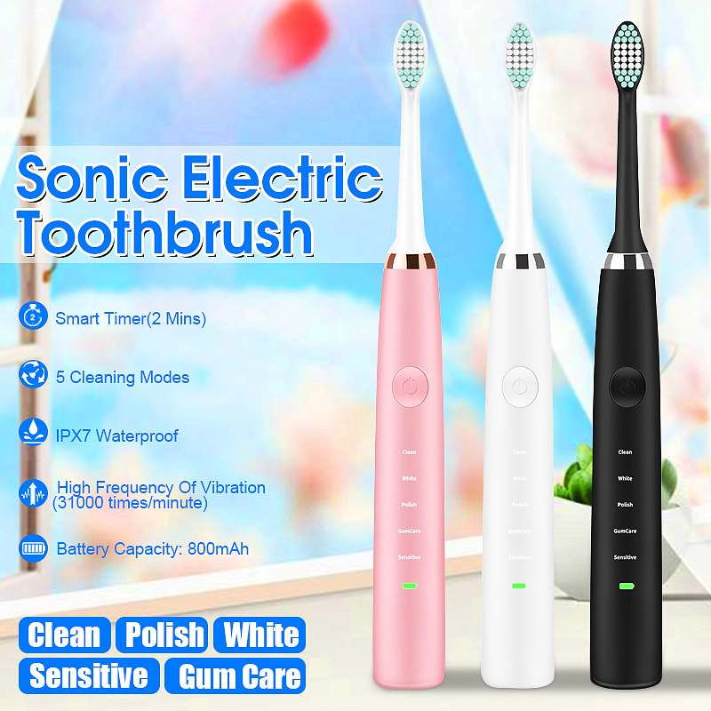 Powerful Electric Toothbrush USB Rechargeable Timer 5 Modes Ultrasonic Whitening Waterproof Teeth Brush with Replacement Heads image